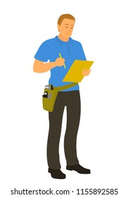 Home inspector man finished house check and writing house condition report. Male caucasian home inspection professional full length vector flat character illustration isolated on white background