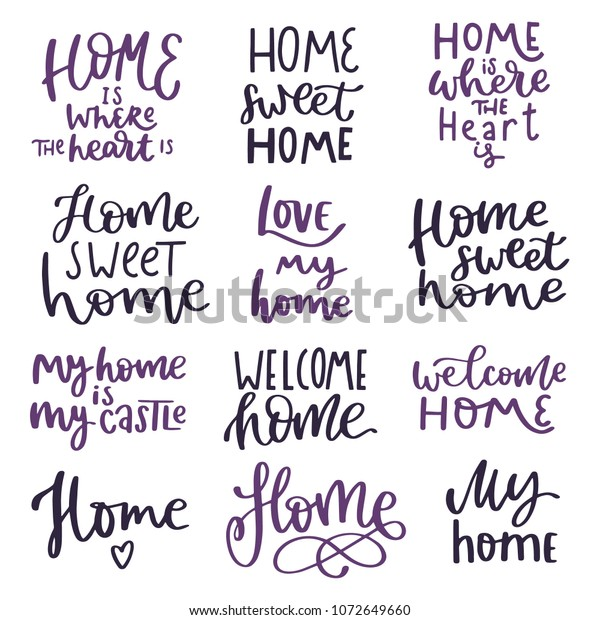 Home Inspiration Quotes Lettering Composition Phrases Stock