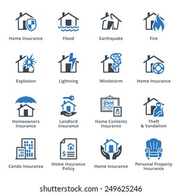Home Insurance Icons - Blue Series