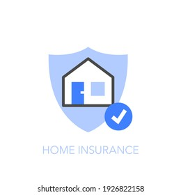 Home insurance symbol with a protective shield and a house. Easy to use for your website or presentation.