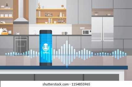 Home intelligent voice activated assistant recognition technology concept kitchen interior background smart ai speaker hi tech futuristic artificial intelligence speech horizontal flat vector