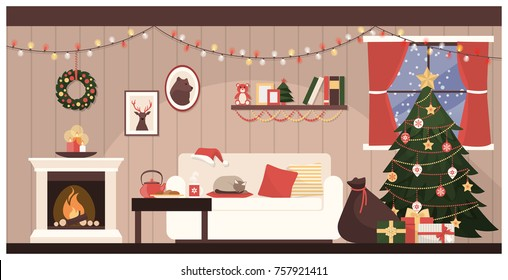Home interior with Christmas tree, a sack with gifts and a cat sleeping on the sofa