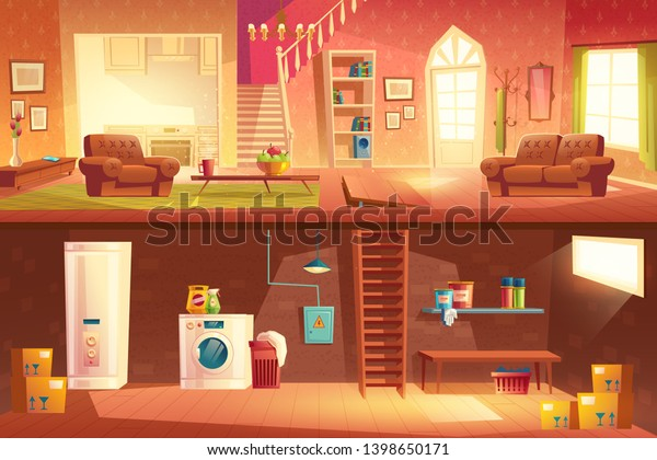 Home interior cross section with spasious hall, living room, kitchen, stairs on second floor, laundry in basement downstairs. Cottage apartment background with furniture. Cartoon vector illustration