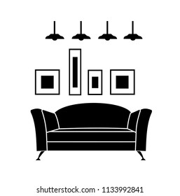 Home interior design icon. Sofa icon, living room