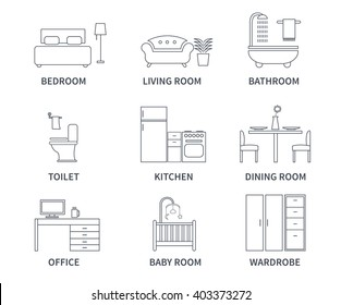 Home interior design icons for bedroom, living room, bathroom, kitchen, dining room, home office, wardrobe, baby room in line style. Vector icons set.