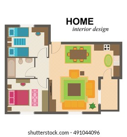 Home interior design illustration. Living room kitchen two bedrooms and bathroom furniture