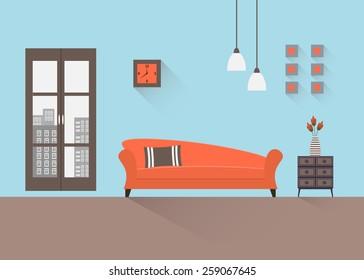 Home interior. Interior design of a living room for web site, print, poster, presentation, infographic. Flat design illustration.