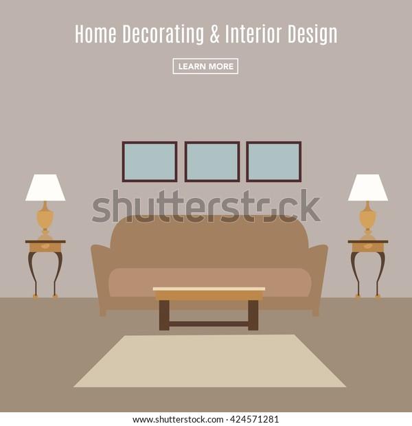 Home Interior Interior Design Living Room Stock Vector (Royalty ...