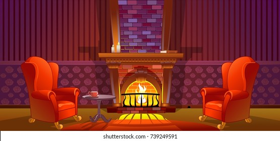 Home interior with fireplace and armchair