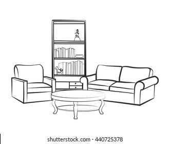 Home interior furniture with sofa, armchair, table, book shelf and books. Living room drawing design. Engraves hand drawing vector illustration