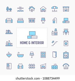 Home, interior & furniture - thin line website, application & presentation icon. simple and minimal vector icon and illustration collection.