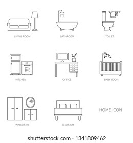 Home, interior, furniture, thin line icons, vector illustration, rooms in the house
