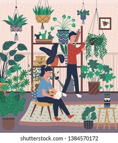 Home interior, greenhouse with plants in pots man and woman with hobby. Male caring for houseplants and woman reading book sitting on chair in room