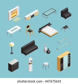 Home interior objects with coffee table and king size bed isometric icons set abstract isolated vector illustration