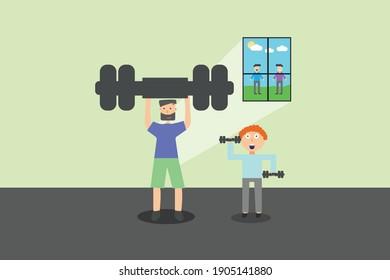 Home isolation gym flat design