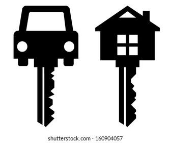 home key and car key symbols isolated on white