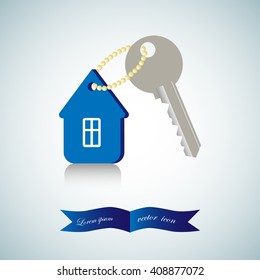 home and key icon, real estate, vector