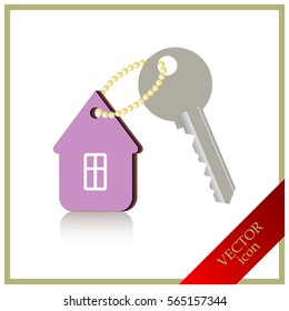 home and key icon, real estate
