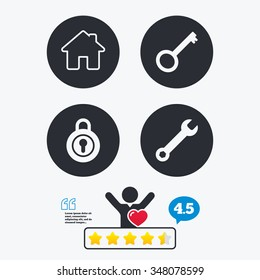 Home key icon. Wrench service tool symbol. Locker sign. Main page web navigation. Star vote ranking. Client like and think bubble. Quotes with message.