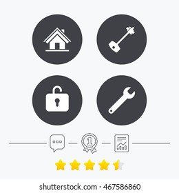 Home key icon. Wrench service tool symbol. Locker sign. Main page web navigation. Chat, award medal and report linear icons. Star vote ranking. Vector