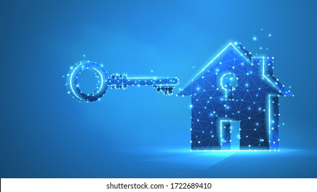 Home with a key. Real estate, house safety, and property concept. Low poly, wireframe 3d vector illustration. Abstract polygonal image on blue neon background