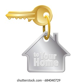Home key with ring and house shaped keychain on white background.