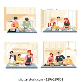 Home kitchen interior family cooking food or dinner vector meat and vegetables cutting and boiling soup and salad chicken and sausage ingredients mixing cooker and counters frypan and saucepan.