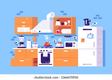 Home kitchen interior vector illustration. Canteen furniture and technics. Fridge, oven, cooker hood, microwave, toaster, mixer and electric kettle flat style design. Modern cook room concept