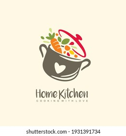 Home kitchen logo with pot full of healthy vegetables and vitamins. Cooking with love logo design idea for grandma food. Playful symbol idea with colorful ingredients. Vector icon.