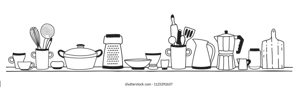 Home kitchen utensils for cooking, tools for food preparation or cookware standing on shelf hand drawn with black contour lines on white background. Vector illustration in monochrome colors.