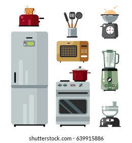 Home kitchenware, food and devices in color vector flat illustration. Stove, dishes, oven with roasting, blender and microwave oven, toaster, meat grinder and refrigerator.
