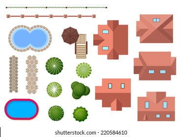 Home, landscape, property elements with variety of different roof shapes, two swimming pools, ornamental trees, shrubs and fencing for landscape design