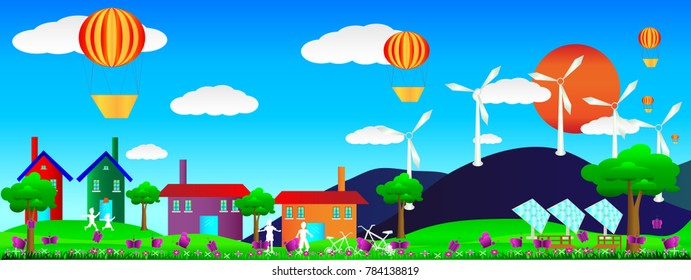 Home landscape for saving energy with mountain and sun blue clouds sky background, Family have funny with house background. Solar cells and wind turbines save it, vector art and illustration.