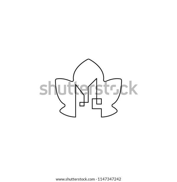 home leaf line art logo template