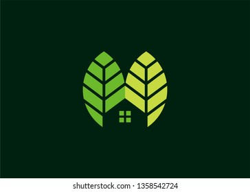 Home Leaf Logo, Nature House that have a simple and strong appearance or Home Nature, Tree House with shades of green for various Icons, Vectors, Favicons, Logo.