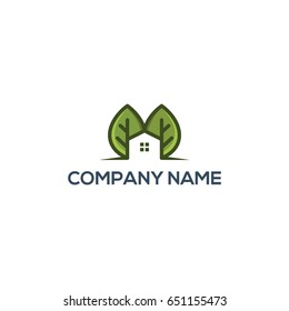 Home leaf, organic Logo template. Clean and modern style on white background