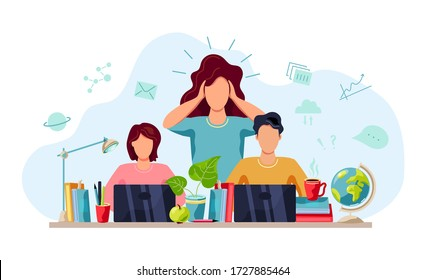 Home learning, home schooling concept. Mental health concept. Mother is tired to help students doing homework. Vector illustration isolated on white background. Flat cartoon style design.