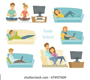 Home leisure. Couple watching tv. Man work at home and women shopping online on sofa with laptop. Friends playing video games. People lying and relax.  Young people leisure time