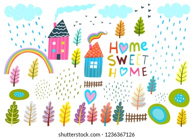 Home Lettering House Landscape Graphic Collection. Set of landscape kids design simple elements isolated.