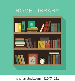 Home library flat illustration. Wooden shelf with books, alarm clock and cup with pencils.