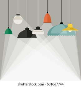 Home light background with lamps icons in flat style. Vector banner with lighting.