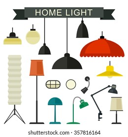 Home light with lamps icons in flat style. Simple vector illustration.
