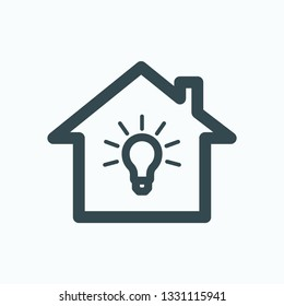 Home lightning isolated icon, house lightning system linear vector icon