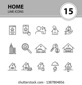 Home line icon set. House, garage, key, lock, cash. Home concept. Can be used for topics like real estate, mortgage, insurance