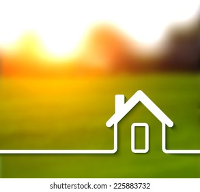 Home line vector background on blur photo background