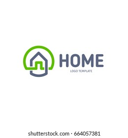 Home linear vector logo. Smart house line art green and gray blue logotype. Outline real estate icon.