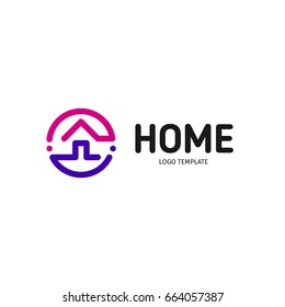 Home linear vector logo. Smart house line art purple, violet and black logotype. Outline real estate icon.