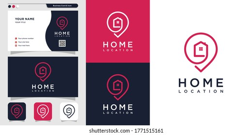 Home location logo with line art and business card design. pin, map, location, home, house, icon, building Premium Vector