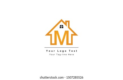 "home logo design, the letter ""M"" is designed to be a symbol or Icon of the house vector, Real estate"