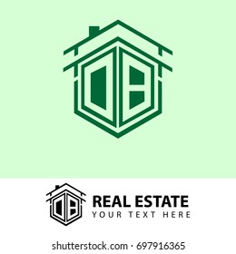 Home Logo Design, Real estate or Company Logo, Initial Letter DB Hexagonal Shape for Corporate Identity